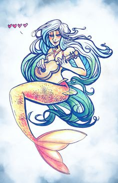 Mermaids and Ukuleles  Art Print by StripSearch's Amy T. Falcone