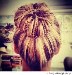 obrazek, blondynka, piękny, piękna, ładna, kok, warkocze