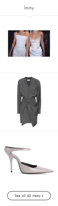 """Immy"" by lucieednie ❤ liked on Polyvore featuring dresses, grey, woolen dress, wrap dress, gray dress, wool wrap dress, gray wrap dress, shoes, pumps and grey pumps"