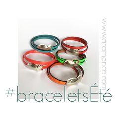 Les bracelets nouveaux sont en ligne pour l'été, aérés, colorés, en cuir, en plaqué argent ou mélange des deux... #braceletCuirArgent #bijouxCouleurs