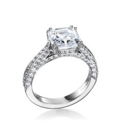 Mark Patterson - Promise Collection Platinum Pave Square Emerald Solitaire Setting