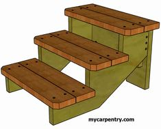 Deck Steps, Wood Steps, Deck Gate, Hot Tub Backyard, Backyard Sheds, Wooden Steps Outdoor, Stair Rise And Run, Diy Stair Railing, Building Stairs