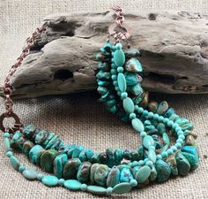 Turquoise Statement Necklace Chunky Boho by MMDJewellery on Etsy Handmade Copper, Turquoise Earrings, Antique Copper, Green And Brown, Round Beads, Just For You, Jewellery, Gemstones, Boho