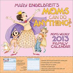 Mary Engelbreit's Moms Can Do Anything! 2013 Weekly Wall Calendar is the perfect tool for staying organized. The calendar features weekly planning pages with artwork from Mary and a charming quote. It offers space for up to five family members to keep track of their busy schedules and features monthly grids, an always visible year-at-a-glance, and a convenient pocket.