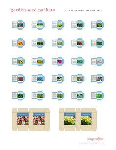Miniature Plants, Miniature Dolls, Barbie Miniatures, Dollhouse Miniatures, Sunflowers And Daisies, Minis, Seed Packets, Garden Seeds, Diy Dollhouse