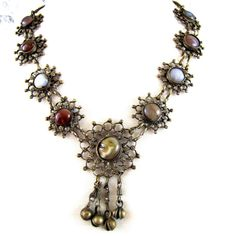 70s Vintage Filigree Bohemian  Necklace with Agate Jasper Carnelian Cabochons