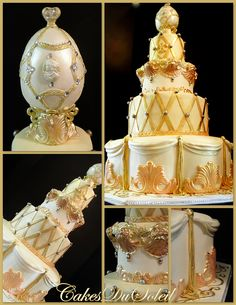 Baroque Style Wedding Cake with Sugarpaste Faberge Egg topper  - inspired by a Margaret Braun design ~ from Jacque -- her website is ( http://cakesdusoleil.blogspot.com )