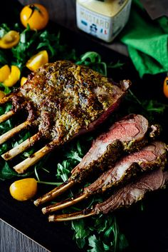 Dijon Roasted Rack of Lamb with herbs