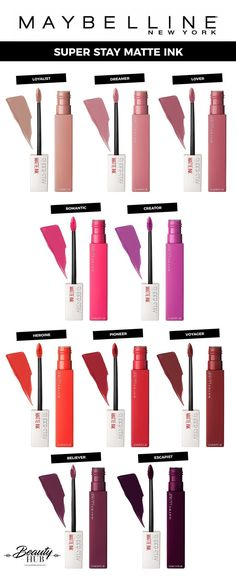 Stay Matte Ink Maybelline Super Stay Matte Ink, Maybelline Super Stay Matte Ink, Then you fill your lower lip in one go. Make sure you apply the lip color in just one thin layer so it dries evenly. Maybelline Superstay, Maybelline Lipstick, Liquid Lipstick, Matte Lipsticks, Drugstore Makeup Brands, Makeup Dupes, Skin Makeup, Makeup Cosmetics, Makeup Remover