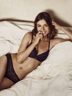 Soft and sexy in classic Black Lace. // Andreea Diaconu For Etam Lingerie Spring 2016 (4)