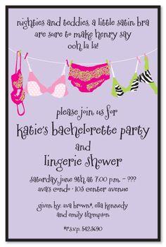 Bachelorette Party Invitations, Lavender Lingerie