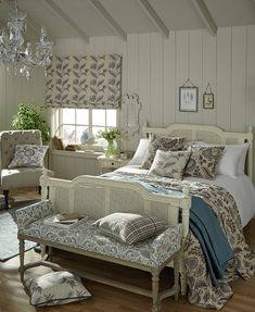 Based around archive designs reminiscent of motifs from the Arts and Crafts Movement. Rustic Country Bedrooms, Country Interiors, Arts And Crafts Movement, Drapery Fabric, Soft Furnishings, Vintage Patterns, Upholstery, Bedroom Decor, New Homes