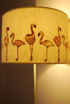 Embroidered Flamingo Lampshade