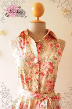 Pink Floral Dress Tea Party Dress Floral Summer Dress by Amordress
