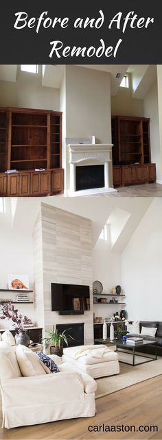 See how this home went from trad, muddy, and tired to light, bright and more up-to-date. Fireplace, floating shelves, tv above fireplace
