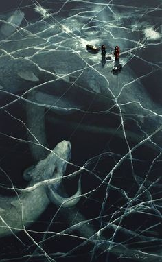 Beneath the ice.  Unknown artist