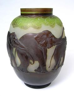Various animal vases by the French artist Émile Gallé (1846-1904)