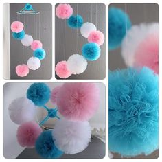 Nursery mobile baby room mobile tulle pom pom by pompommyworld. Pink Cot Mobile, Baby Mädchen Mobile, Cute Diy Room Decor, Baby Room Decor, Nursery Decor, Tulle Crafts, Pom Pom Crafts, Diy Arts And Crafts, Diy Craft Projects
