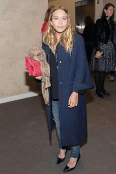 Mary-Kate Olsen in a long evening coat, ripped jeans and pointed toe heels