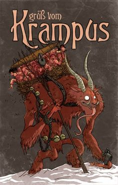 'Grüß Vom Krampus' Poster by Douglas Holgate Arte Zombie, Satan, Bad Santa, Dark Christmas, Christmas Time, Xmas, Demonology, Saint Nicholas, Yule