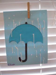 glue dots, hang, glue drips, dries...U umbrella