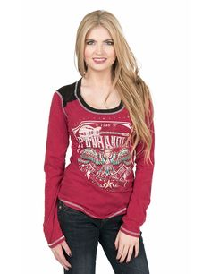 Panhandle Women's Red with Logo Screen Print Long Sleeve Casual Knit Top | Cavender's