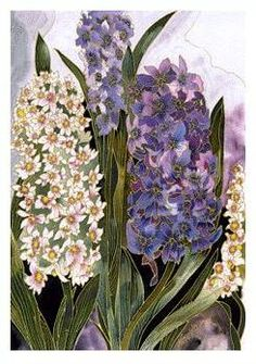 Hyacinth - Silk Print by Kavita Painted Silks. American Made. See the designer's work at the 2016 American Made Show, Dallas,TX. January 21-24, 2016. americanmadeshow.com #americanmadeshow, #americanmade, #silk, #hyacinth, #flowers