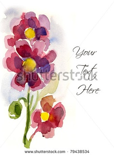 stock photo : Pink hand-painted flowers for your greeting card