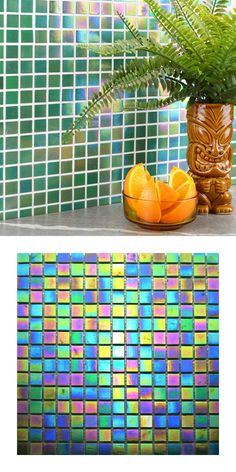 A green iridescent glass mosaic on a mesh netting. Individual tile size is There are 9 sheets per square meter and 225 tiles per sheet. Luminous Colours, Vibrant Colors, Mosaic Glass, Mosaic Tiles, Kitchen Walls, Mesh Netting, Square Meter, Splashback, Mold Making