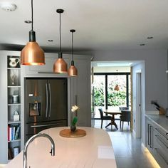 Pendant Lighting Over Dining Table, Kitchen Pendant Lighting, Kitchen Pendants, Dining Room Lighting, Copper Pendant Lights, Copper Lighting, Island Pendant Lights, Industrial Style Lighting, Round Kitchen Island