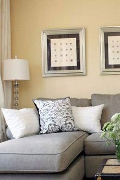 grey sectional sofa, pale yellow walls and silver and clear and white for accents Yellow Walls Living Room, Living Room Colors, Living Room Designs, Home Living Room, Living Room Sofa, Living Room Paint, Couches Living Room, Living Room Grey, Yellow Living Room