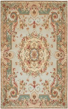 Savonnerie SAV201B Blues Hand Tufted Wool Area Rug
