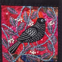 Bird embroidery , hand stitched. Debbie Irving