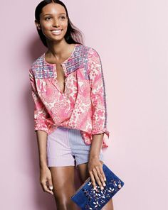 "J.Crew pink floral embroidered top, 3"" colorblock seersucker shorts, jeweled suede clutch."