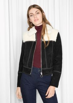 & Other Stories image 2 of Fuzzy Suede Jacket in Black