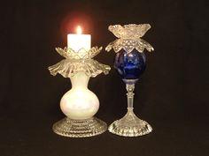 Vintage glass candle holder Garden art by ReCreationsInGlass
