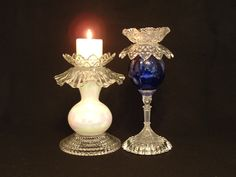 Vintage glass candle holder Garden art by ReCreationsInGlass