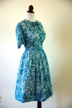 Vintage 1950s Aqua Floral Sheer Dress with by RetroKittenVintage, $55.00