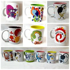 Fun and Fancy Shio on Mug by Meerakatja glass art painting