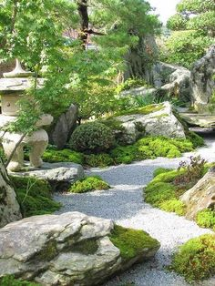"Japan - Karesansui, or Japanese rock garden, is also called ""dry landscape garden"" or ""zen garden."""