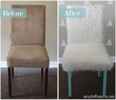 Whimsical Faux Fur Office Chair Makeover - UpcycledTreasures.com
