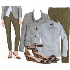 Chambray, animal flats, gray jacket, black denim.
