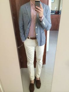 Men's Light Blue Blazer, White and Red Vertical Striped Dress Shirt, Brown Leather Belt, White Chinos, White and Black Gingham Pocket Square, and Dark Brown Suede Loafers