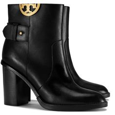 Tory Burch Sidney High-Heels Booties ($395) ❤ liked on Polyvore featuring shoes, boots, ankle booties, black, high heel ankle boots, ankle boots, black booties, black ankle booties and black boots