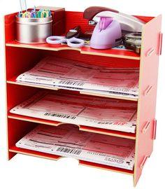 Amazon.com - Menu Life Desk File Letter Trays File Desk File Storage Cabinet Box A5 Size (Red) -