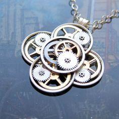 Clockwork Flower Necklace Mechanthemum Elegant от amechanicalmind, $55.00