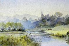 ChurchSteeple landscape with stream Watercolor Painting Techniques, Watercolor Projects, Watercolor Landscape Paintings, Watercolor Artists, Abstract Landscape, Watercolor Water, Watercolor Trees, Watercolor Drawing, Painting & Drawing