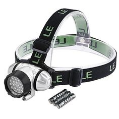 LE Headlamp LED, 4 Modes Headlight, Battery Powered Helmet Light for Camping,...