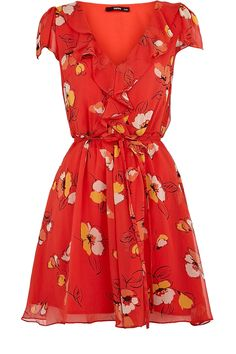 Love. The colour, the neckline, the sinched in waist. Plus - definitely a summer dress with light jacket, flip flops and sunglasses but also lovely autumn dress with chunky cardigan and riding boots