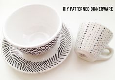 DIY patterned dinnerware with sharpie and goodwill dish set (one comment suggests to bake at 350 for 20 minutes to set it)